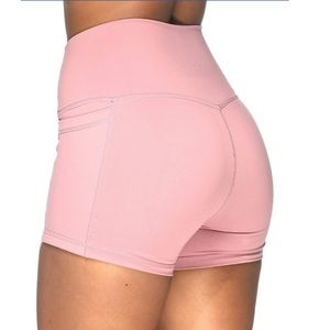 Ethos v back pocket workout shorts in rose pink xs